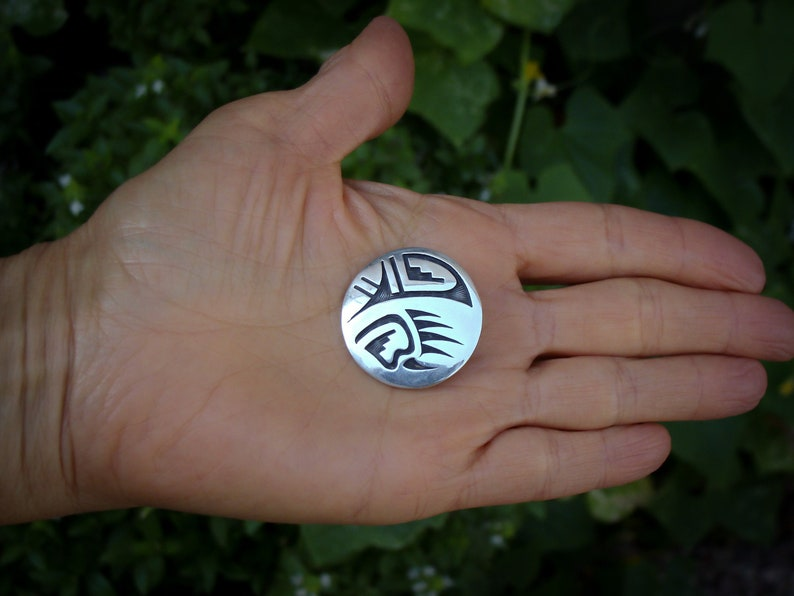 Silver Brooch Handmade Indian Jewelry, Hopi Sterling Silver Bear Paw Pin Pendant
