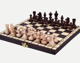 Brand New Hand Crafted Olympic Wooden Chess Set Great Board.