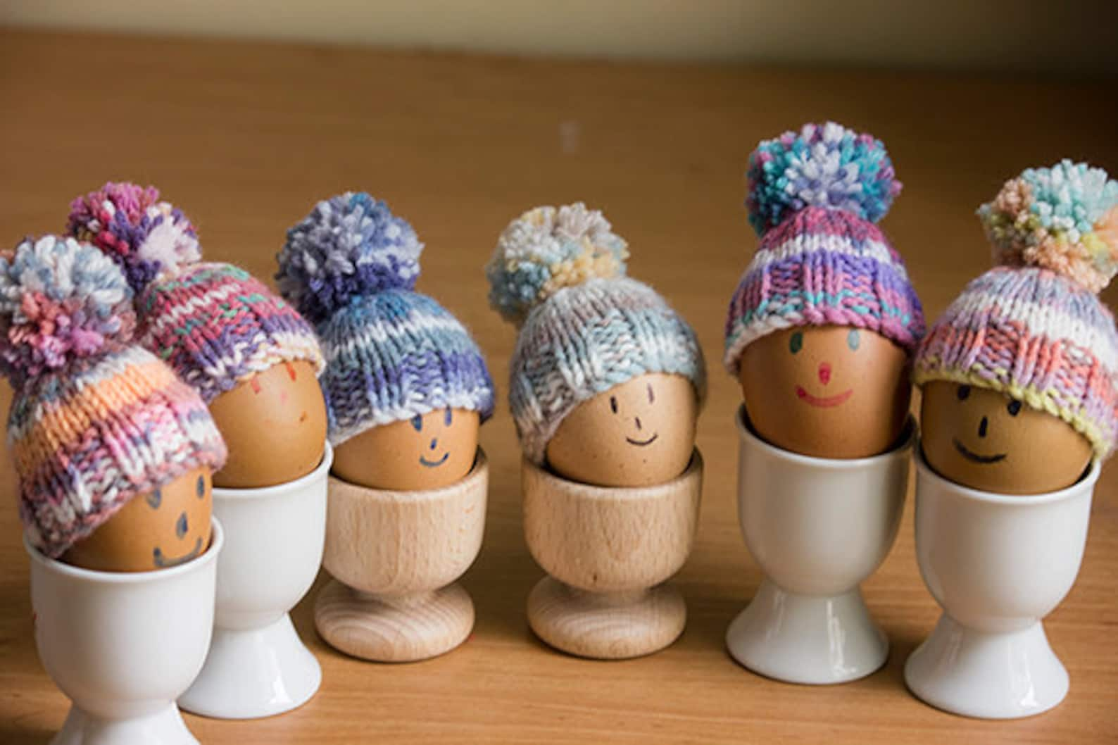 Egg Cosies set of 6 brightly coloured egg cosies, hand knitted,