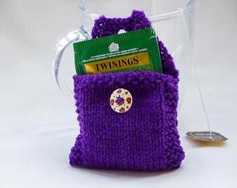 Purple Tea Bag Tote, Tea Bag Wallet, Handknitted