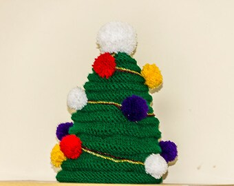 Christmas Tree Hat, Handknitted