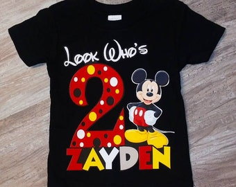 Look Whos 2 Mickey Mouse Birthday Shirt
