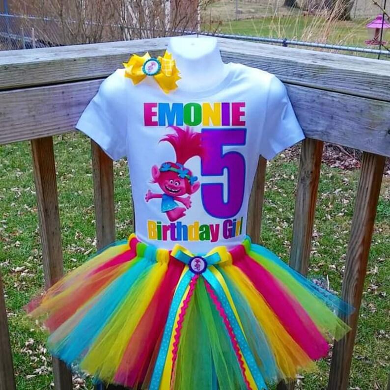 Princess Poppy Tutu Set Colorful Trolls