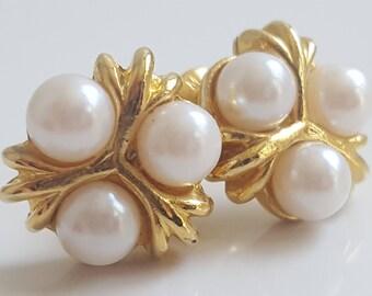 Gold and Faux Pearl Earrings   Three   3   Tri   Precious