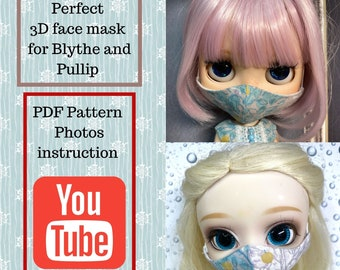 PDF 3D face mask pattern  for Blythe & Pullip