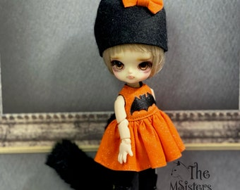 Mini Halloween cat dress for 11 cm doll size