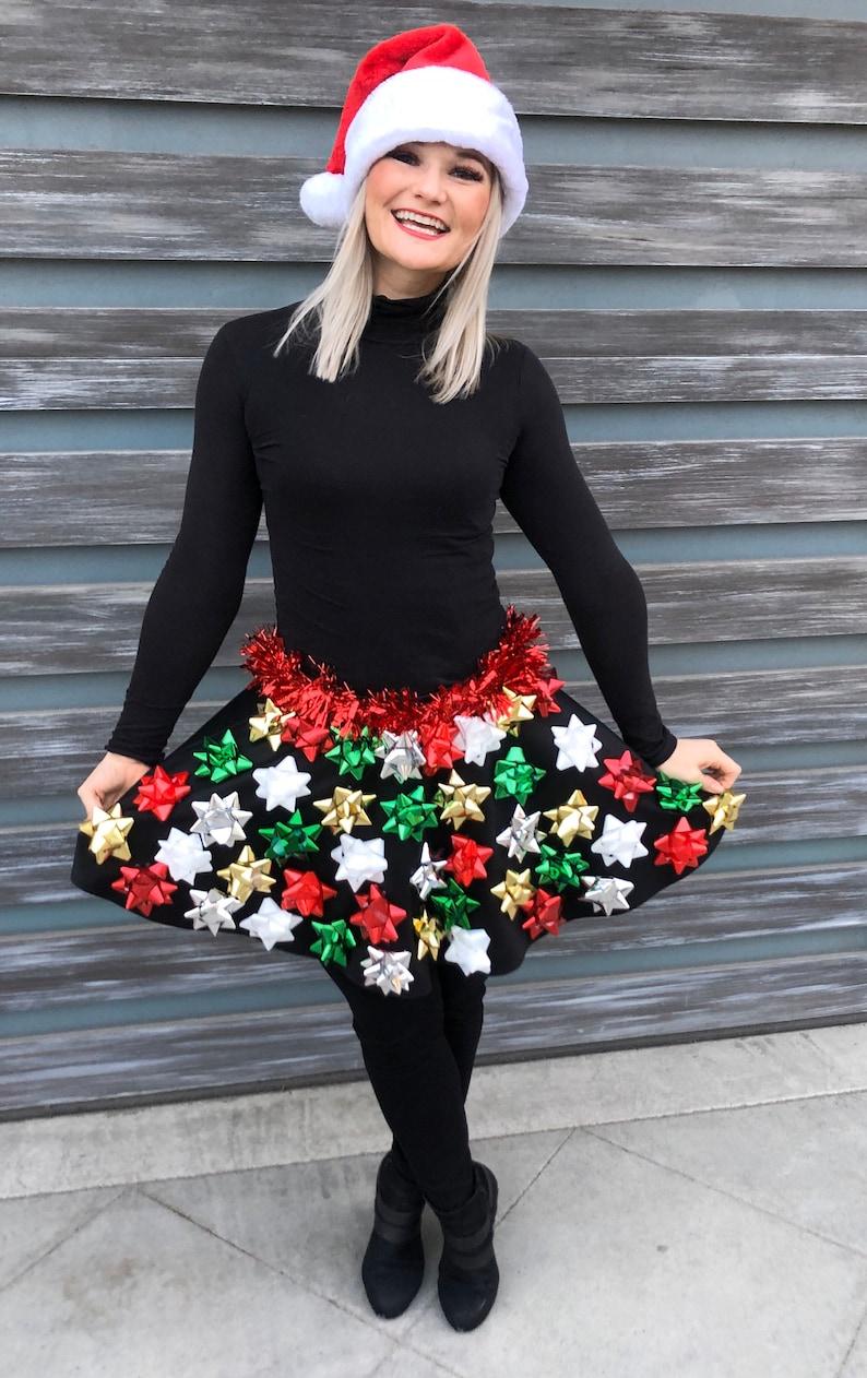 Ugly Christmas Sweater Christmas Bow Skirt Ugly Christmas X-mas Colors
