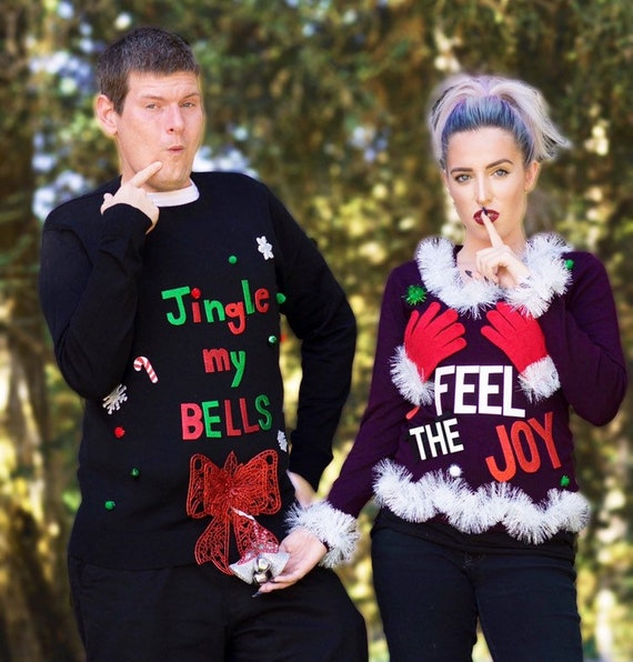 Ugly Christmas Sweater, Couples Ugly Christmas Sweater, Feel the Joy  Sweater \u0026 Jingle My Bells, FREE Shipping READY to ship