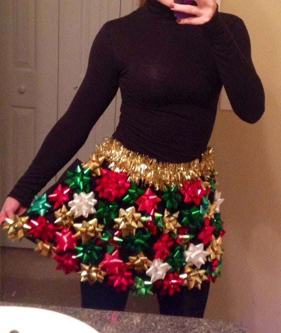 Christmas Skirt.Ugly Christmas Sweater Christmas Bow Skirt Ugly Christmas Sweater Party Bow Skirt Discounted For October