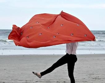 Terracotta Linen Throw / Black White Blue Diamond Block Print Barcelona Bedding Accent Beach Blanket Table Cloth Large Wall Hanging Orange