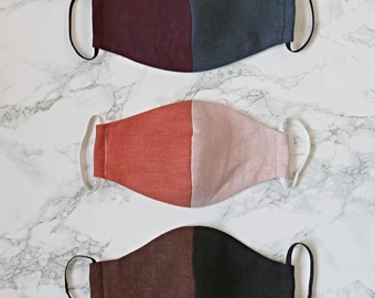 100% Linen Reusable Face Masks with Elastic // 2 Layers of Thick Linen Maroon Navy Blue Pink Orange Terracotta Brown Black Natural Fibers