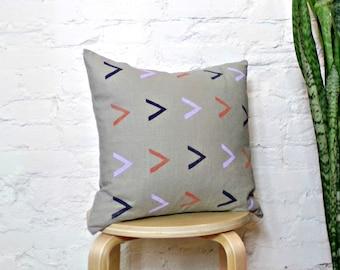 Gray Linen Pillow Cover with Geometric Arrow Print / Lavender Indigo Terra Cotta Decorative Throw Accent Cushion Geometric Mudcloth Inspired