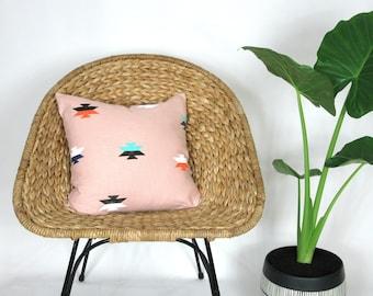 Light Pink Southwestern Print Pillow Cover / Teal Black White Orange Decorative Throw Cushion Mexican Inspired Block Printed Geometric Throw