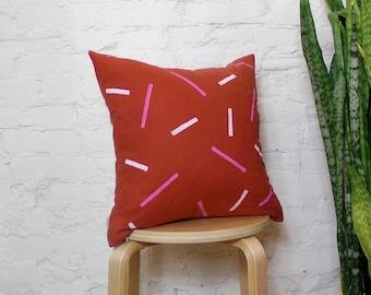 Terracotta Fuchsia and White Linen Pillow Cover / Geometric Confetti Line Print Orange Magenta Hot Pink Decorative Throw Cushion Euro Lumbar