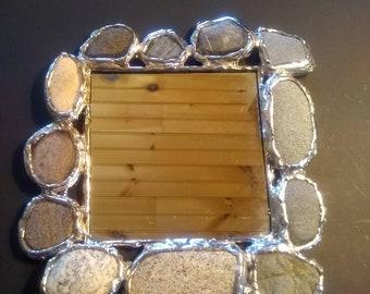 Small Beach Stone Mirror