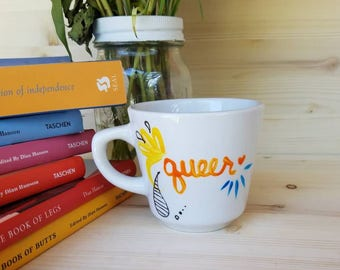 Queer/ Queer Tea Cup/ Queer Coffee Mug/ Queer Coffee Cup/ Gay/ Gay Tea Cup/ Gay Coffee Mug/ Gay Tea Party/ Curse Word Dishes/ Dirty Dishes