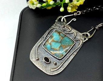 Amazonite with bronze pendant - Artisan handmade pendant - Anniversary gift - Gift for woman - OOAK