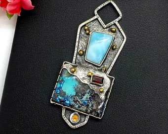 Turquoise and Larimar pendant with 24k Gold accents, Artisan Pendant, gift for Woman, OOAK