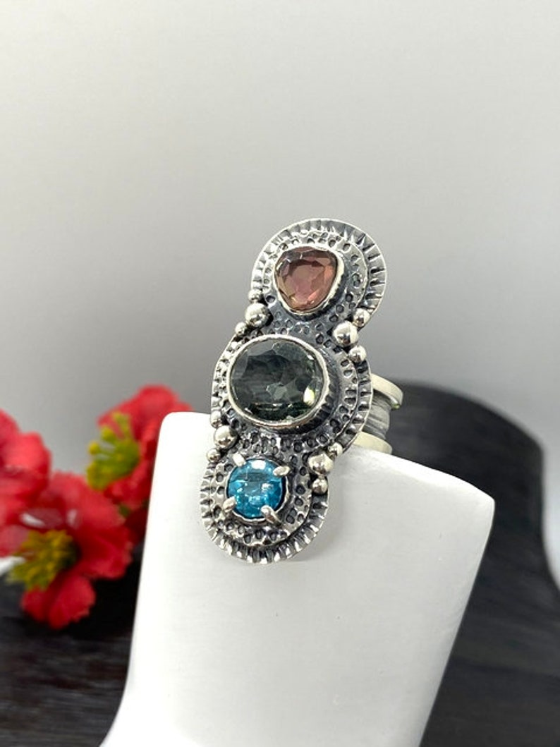 Statement ring Gift for Woman Artisan Handmade ring Green and Pink Tourmaline with Blue Topaz Ring