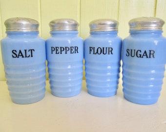 Reserved For R.1930s Jeannette Delphite Rib Range Shakers Salt Pepper Flour Sugar Blue Depression Glass