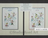 BIRTHDAY REMEMBERANCE  - Custom Made Kids Keepsake from original watercolor.  Great Gift a Child can Treasure - 48.00 each - Free Shipping