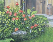 Cottage Shed - Print of original acrylic on canvas - Free Shipping
