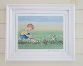"""Boy, Berries and Bunny - Ready to Hang  Delightful Vintage Style Framed Print of Original. 9 1/2"""" X 11 1/2"""" - Free Shipping"""