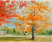 """THE MISSILE -  A vibrant autumn scene of the town common here in Warren, N.H. - 9 3/4"""" X 14 3/4"""" - Free Shipping"""
