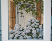 Framed Blue Hydrangea with Lantern- Print of Original -12 1/2 X 15 1/2 - 75.00 - Ready to Hang - Shipping Included