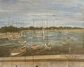 """Moored Boats' - Manhasset Bay - Town Dock - Image Size 19 1/4"""" X 24"""" w/ additional 1"""" border all around - 75.00 - Free Shipping"""
