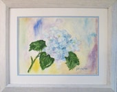 """Single Hydrangea - ORIGINAL WATERCOLOR  Framed and matted - 11"""" X 14"""" - Ready to Hang - Free Shipping"""