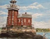 STEPPING STONES LIGHTHOUSE - Manhasset Bay. L.I. - Fine Art Giclee Prints from 1980's Original - Free Shipping