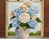 "Hydrangeas in Ceramic Vase - Original on Canvas - 16"" X 20"" -Free Shipping"