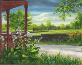 "STUDIO ROAD - Warren, NH - 8 3/4"" X 11 3/4"" Print of original acrylic on canvas - Charming country scene - Free Shipping"