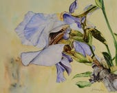 """IRIS - Giclee Print of Original Watercolor on Fine Art Paper - Image Size: 12 1/2""""  X 16"""" w/additional 1"""" border.  Free Shipping"""