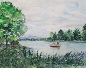 """Meredith Scene - Original water color, painted while sitting at park in  Meredith, NH - Free Shipping - 10 1/2"""" X 15 3/4"""""""