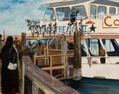 """STARSTREAM ll - Freeport, NY - A days catch of cod in February 1986 - 10 3/4 X 12 1/4"""" print of original on canvas. Free Shipping"""