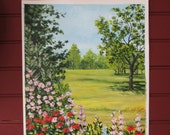 """September Field with Wildflowers - Original Acrylic on Canvas - 12"""" X 16"""" - Free Shipping"""