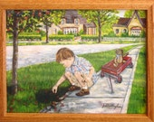 """BOY GATHERING BERRIES _ Framed Print of Original -  10"""" X 12 1/2"""" - Sweet  boy stopping to gather the fallen berries. Free Shipping"""