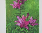 Purle Lilies - Print, detailed colorful close up of 3 lilies growing naturally in grassy setting - Free Shipping