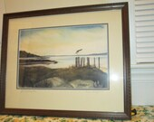 """LONE SEAGULL - 16"""" X 20"""" Framed, Double-matted Print of Original - Ready to Hang -Free Shipping"""