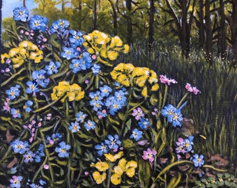 Patch of Forget-Me-Nots - Original acrylic on 3 ply matboard - Rigid - Ready to mat and frame