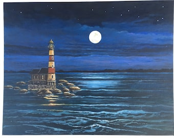 """LIGHTHOUSE with FULL MOON - Original Acrylic on Canvas Board - 11"""" X 14"""" - Ready to Frame"""