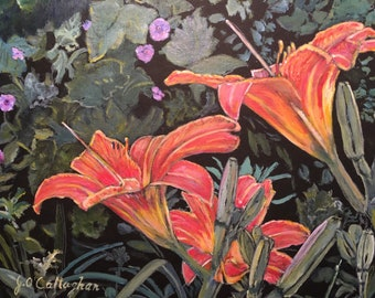 """DAYLILLIES with FLOWERING RASPBERRY - 9 1/2"""" X 11 1/2""""  - Professional Giclee Reproduction on Canvas."""