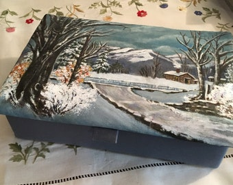 Individually Handmade Box by Artist - Each box is one of a kind work of art.  - Hand cut, Handsewn, and Handpainted. Free shipping