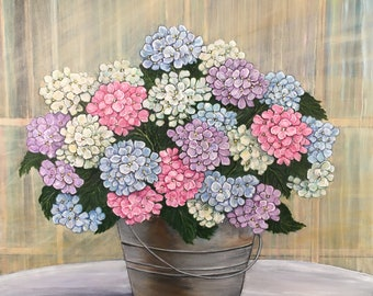 """Original Acrylic Painting - 'Hydrangeas in Metal Bucket' - on stretched canvas - 24"""" X 24"""" - Full blooms and lovely colors of Hydrangeas."""