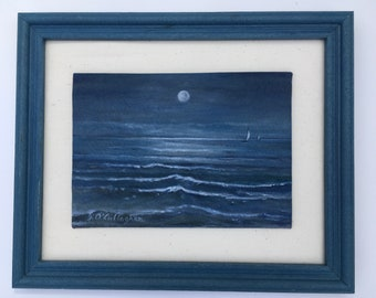 """FRAMED SEASCAPE - Painted in acrylic on Muslin - Ready to Hang - 9 1/4' X 11 1/4 """""""