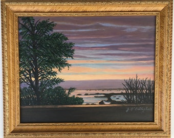 """MANHASSET BAY - Original Acylic - Framed and Ready to Hang - 14"""" X 17"""""""