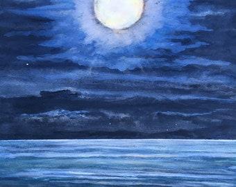 """GLOWING FULL MOON - Original Watercolor - 10 1/2 X 15"""" -"""