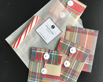 String Envelopes, Plaid, Holiday, Christmas